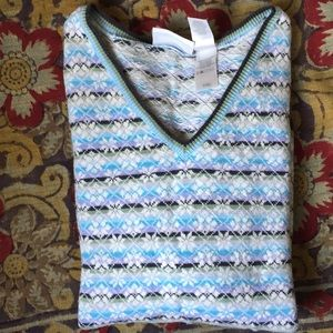 Vintage Liz Claiborne V-Neck Floral Knit Sweater